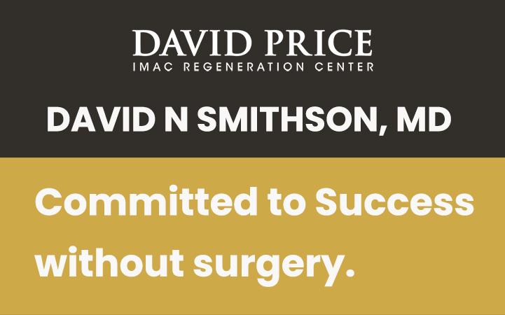 DAVID N SMITHSON MD, IMAC REGENERATION CENTER